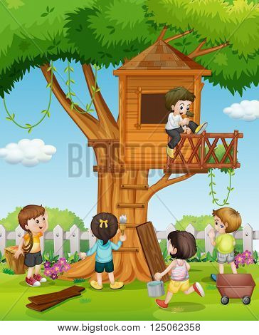 Kids playing on treehouse