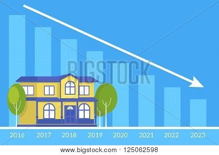 Real estate concept of the house and loan payment graph behind. Flat illustration of the debt payments decreasing year by year