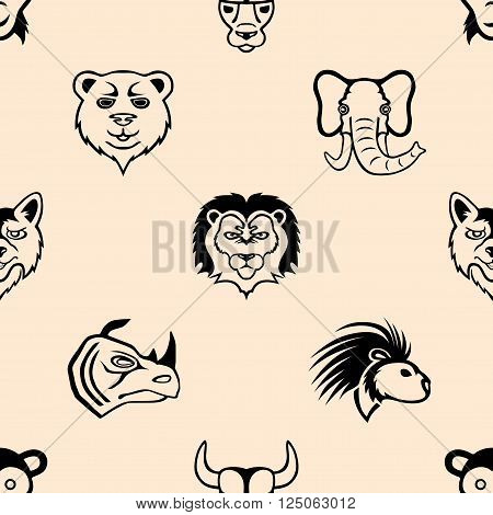 Bear, wolf, monkey, lion, elephant, rhino, porcupine and bull.