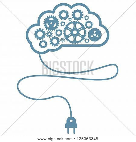 Artificial mind and intelligence - brain with gearwheel and cord