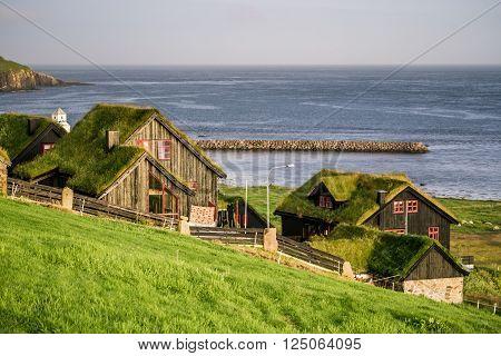 Village of Kirkjubourlocated on the island of Streymoy, Faroe Islands, Denmark