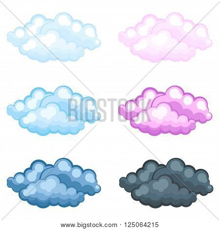 set of different funny cartoon fluffy clouds Vector illustration.