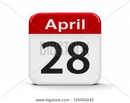 Calendar web button - The Twenty Eighth of April - World Day for Safety and Health at Work three-dimensional rendering, 3D illustration