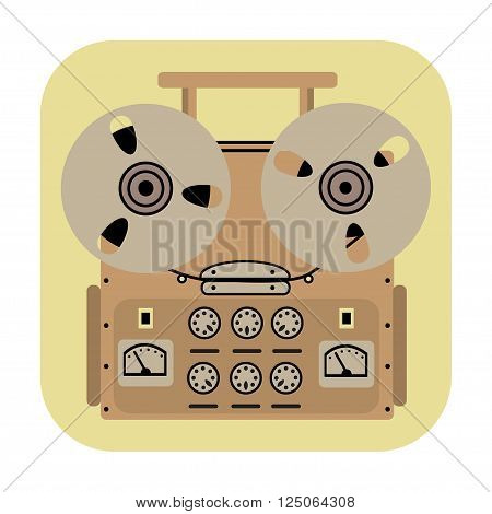 reel tape recorder icon on yellow background.