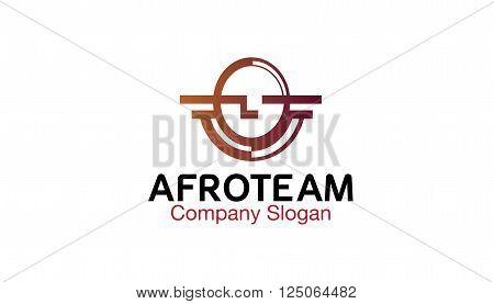 Afro Team Creative And Symbolic Logo Design Illustration