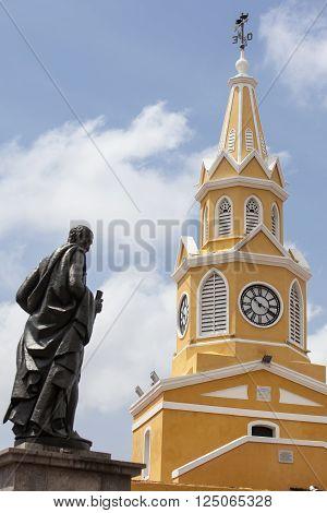 Public Clock Tower and Pedro de Heredia statue in Cartagena de Indias