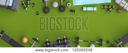 Branding mock up floor room with sports equipment. Blank template on background for house club sports centers. View from above. 3d illustration.