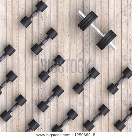 Sport background with black dumbells over simple background. 3d illustration.