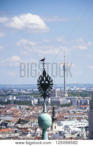 Aerial View Of Vienna With Bird On Tower Of Stephansdom