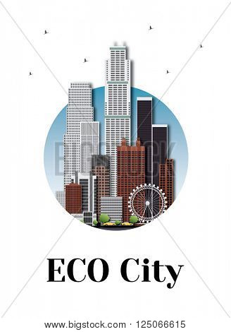 Eco city architecture skyline logo design. Vector logotype for your company isolated on white background.