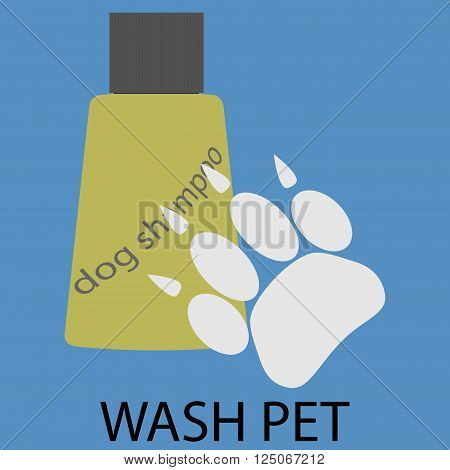 Wash pet design flat icon. Pet wash with soap and shampoo doggy cleanliness and grooming bathtime. Vector flat design illustration
