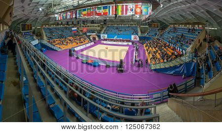 MOSCOW, RUSSIA - FEBRUARY 19, 2016: Stadium Druzhba in wide angle view just before Rhythmic gymnastics Alina Cup Grand Prix Moscow - 2016 in Moscow sport palace Luzhniki, Russia.