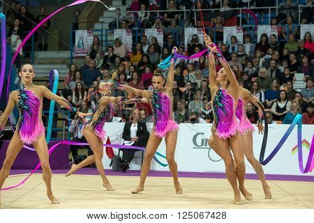 MOSCOW RUSSIA - FEBRUARY 19 2016: group exercises the German team on Rhythmic gymnastics Alina Cup Grand Prix Moscow - 2016 in Moscow sport palace Luzhniki Russia
