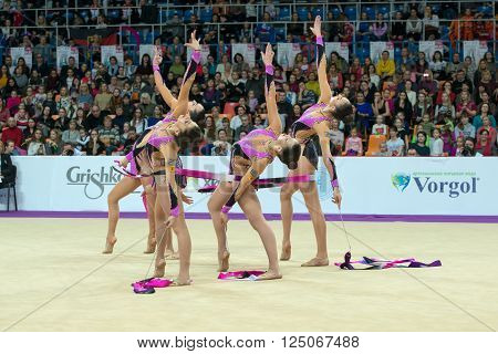 MOSCOW RUSSIA - FEBRUARY 19 2016: group exercises the team of Greece on Rhythmic gymnastics Alina Cup Grand Prix Moscow - 2016 in Moscow sport palace Luzhniki Russia