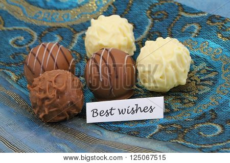 Best wishes card with assorted pralines and truffles