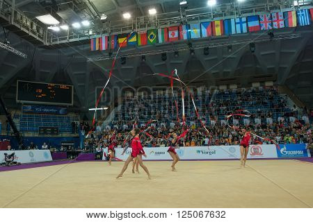 MOSCOW RUSSIA - FEBRUARY 19 2016: group exercises the team of Latvia on Rhythmic gymnastics Alina Cup Grand Prix Moscow - 2016 in Moscow sport palace Luzhniki Russia