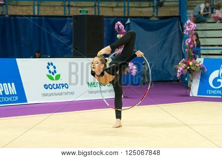 MOSCOW RUSSIA - FEBRUARY 19 2016: AY Camille France on Rhythmic gymnastics Alina Cup Grand Prix Moscow - 2016 in Moscow sport palace Luzhniki Russia