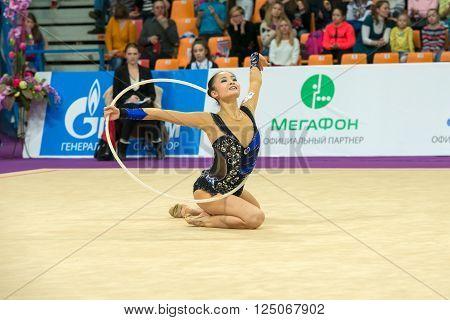MOSCOW, RUSSIA - FEBRUARY 19, 2016: Minagawa Kaho, Japan in Rhythmic gymnastics Alina Cup Grand Prix Moscow - 2016 in Moscow sport palace Luzhniki, Russia