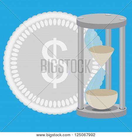 Time is money. Hourglass with silver coin vector. Time and time management money and clock save time and clock money hourglass money and business clock. Vector flat design illustration