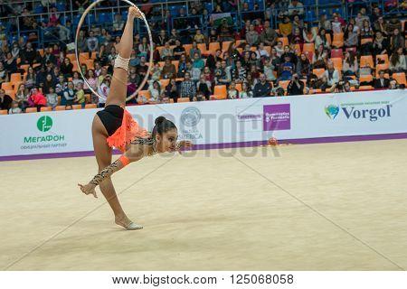 MOSCOW RUSSIA - FEBRUARY 19 2016: Piriyeva Zhala Azerbaijan on Rhythmic gymnastics Alina Cup Grand Prix Moscow - 2016 in Moscow sport palace Luzhniki Russia