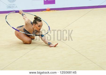 MOSCOW RUSSIA - FEBRUARY 19 2016: Bogdanova Viktoria Estonia on Rhythmic gymnastics Alina Cup Grand Prix Moscow - 2016 in Moscow sport palace Luzhniki Russia