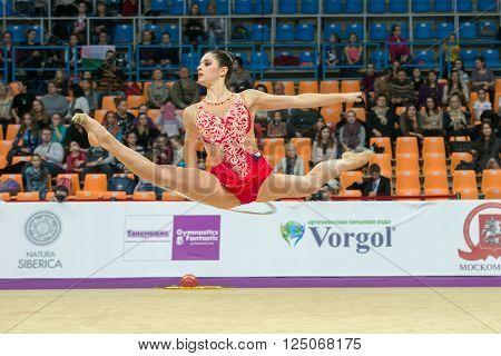 MOSCOW RUSSIA - FEBRUARY 19 2016: Sebkova Anna Czech Repablic on Rhythmic gymnastics Alina Cup Grand Prix Moscow - 2016 in Moscow sport palace Luzhniki Russia