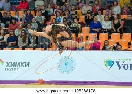 MOSCOW RUSSIA - FEBRUARY 19 2016: Annenkova Irina Russia on Rhythmic gymnastics Alina Cup Grand Prix Moscow - 2016 in Moscow sport palace Luzhniki Russia