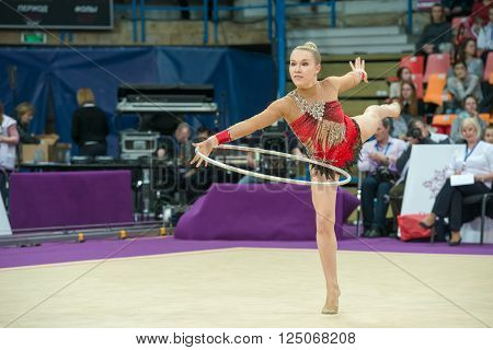 MOSCOW RUSSIA - FEBRUARY 19 2016: Olsson Josefine Sweden on Rhythmic gymnastics Alina Cup Grand Prix Moscow - 2016 in Moscow sport palace Luzhniki Russia