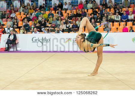 MOSCOW RUSSIA - FEBRUARY 19 2016: Assymova Aliya Kazakhstan on Rhythmic gymnastics Alina Cup Grand Prix Moscow - 2016 in Moscow sport palace Luzhniki Russia