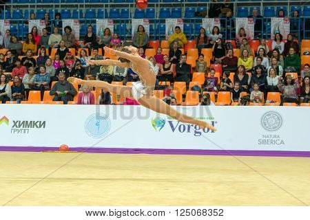 MOSCOW RUSSIA - FEBRUARY 19 2016: Sinitsina Yulia Russia on Rhythmic gymnastics Alina Cup Grand Prix Moscow - 2016 in Moscow sport palace Luzhniki Russia