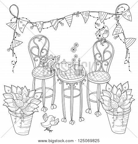 Vector cute birthday tea time .Vector line illustration.Sketch coloring adult book.Boho style hand drawn doodle.Terassa chairs table teapot pie plants in pots birds tea time light garland