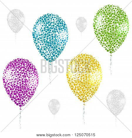 Color Baloon Silhouette Consisting Of  Circle.