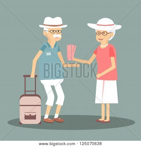 An elderly couple travels. Illustration of a happy traveling pensioners. Characters in the old man and woman on the tour. Happy senior couple traveling around Europe. Vector flat design