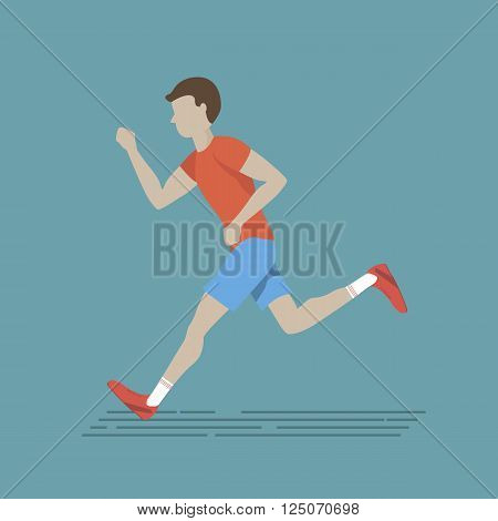 Illustration of ranning man. Vector marathon road race runner in flat design. Man fitness character.
