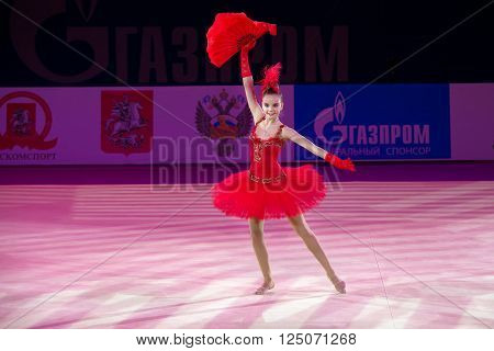 MOSCOW RUSSIA - FEBRUARY 21 2016: Rhythmic gymnast Dina Averina Russia at the gala concert Grand Prix Moscow - 2016 in Moscow sport palace Luzhniki Russia