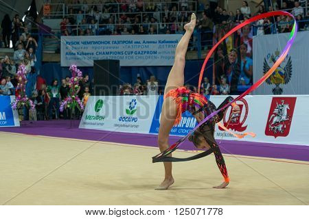 MOSCOW, RUSSIA - FEBRUARY 21, 2016: Staniouta Melitina, Belarus on Rhythmic gymnastics Alina Cup Grand Prix Moscow - 2016 in Moscow sport palace Luzhniki, Russia