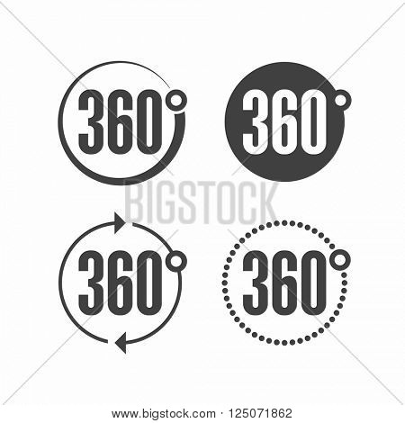 360 degrees view sign icon. Vector.