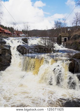 The waterfall at Baerums Verk a tourist destination near Oslo in Norway.