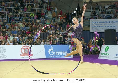 MOSCOW RUSSIA - FEBRUARY 21 2016: Ashirbayeva Sabina Kazakhstan on Rhythmic gymnastics Alina Cup Grand Prix Moscow - 2016 in Moscow sport palace Luzhniki Russia