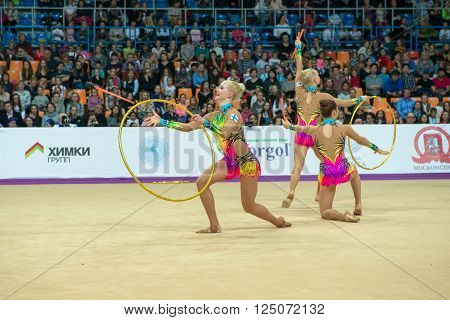 MOSCOW RUSSIA - FEBRUARY 21 2016: group exercises the team of Finland on Rhythmic gymnastics Alina Cup Grand Prix Moscow - 2016 in Moscow sport palace Luzhniki Russia
