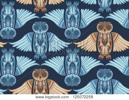 Dark hand-drawn abstract Owl pattern. Stylish surface design. Ancient bird drawing