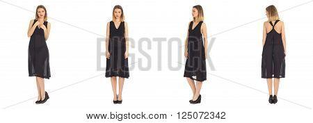 Fashion model wearing dress isolated on white