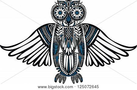Hand-Drawn Owl illustration with abstract pattern. Stylish design. Ancient bird drawing