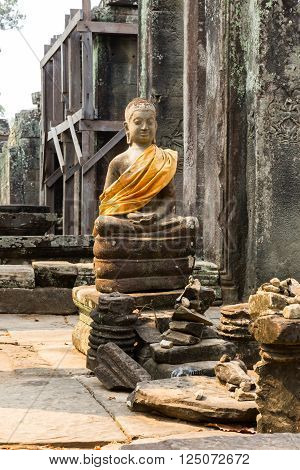 Buddha statue in the Bayon Temple, Siem Reap Cambodia