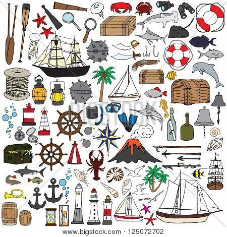 Hand-painted miniatures symbolizing seafaring. Fish, boats, nautical accessories and more.