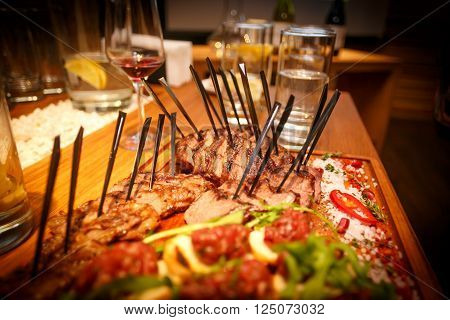 Close up  Grilled Meaty Main Dish, steak meals on the table in a restaurant ** Note: Visible grain at 100%, best at smaller sizes
