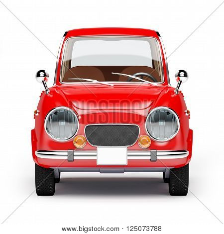 retro car red in 60s style isolated on a white background. Front view. 3d illustration