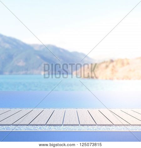 Swimming Pool And Terrace Of Blur Nature Background