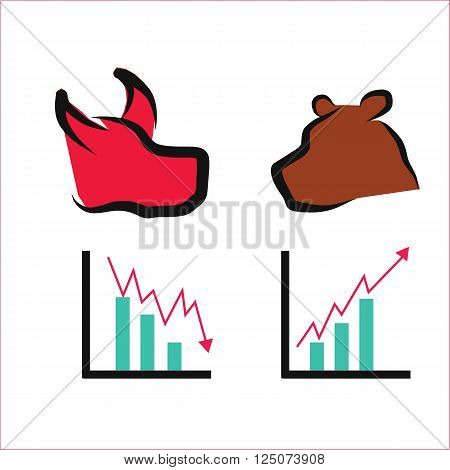 Stock market graph with bull and bear shape illustration vector