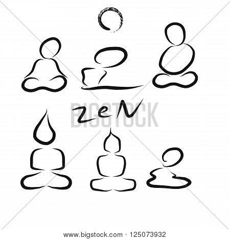 Zen (Buddhism religion in East Asian) brush of human meditation and yoga buddha shape concept in chinese style with circle of zen